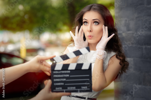 Surprised Actress Shooting Movie Scene