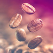 Closeup of coffee beans. Filtered image: warm cross processed vintage effect.
