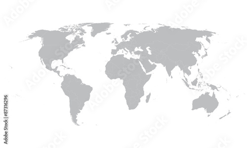 grey vector world map with borders of all countries