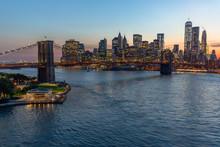 Нью-Йорк Сити Бруклинский мост зданий вечер закат горизонт