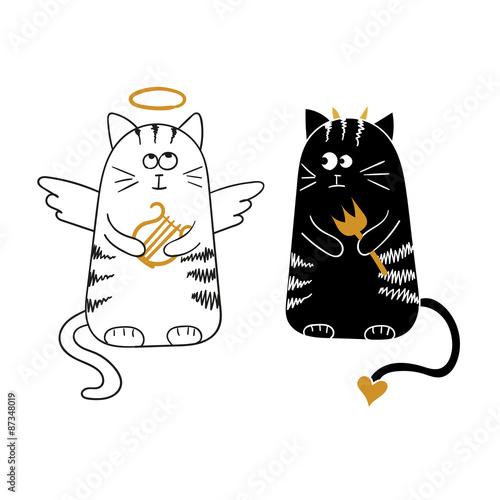 Naklejka Cute cartoon cats, angel and devil. Vector illustration.