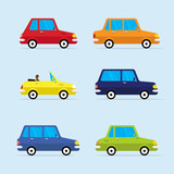 Vector Flat Icon Set of Modern Vehicles, Including Various of Cars