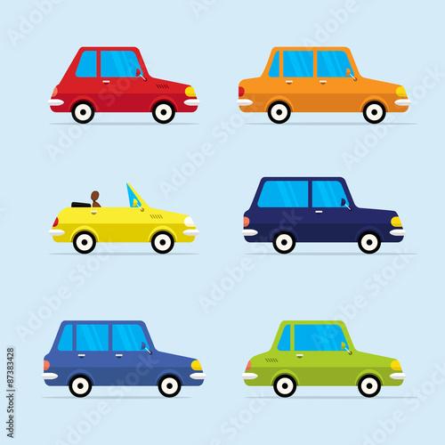 Wektor zestaw ikon płaski nowoczesnych pojazdów, w tym różnych samochodów