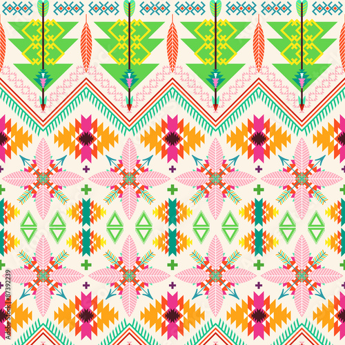 Tribal seamless background - 87392239