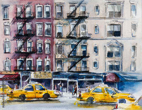 Busy New York street. Watercolor sketch - 87408048