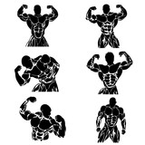 Set of bodybuilders in different poses, vector illustration, icon