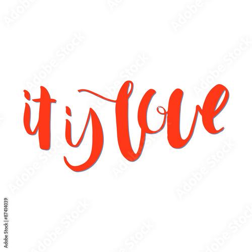Póster Es amor. dibujado mano única letras de la caligrafía.