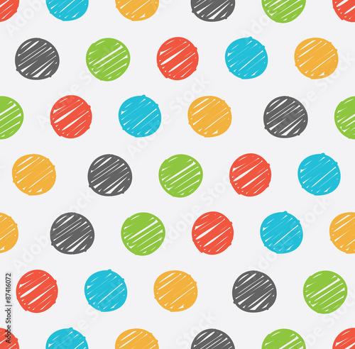Fototapeta polka dot doodle seamless pattern