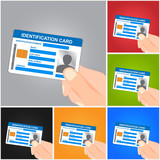 Hand Holding Identification Card on Color Background. Vector illustration.