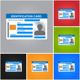 Identification Card Isolated on Color Background. ID Card Icons Set.Vector illustration.