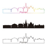 Poznan skyline linear style with rainbow