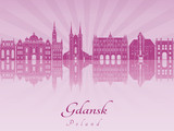 Gdansk skyline in purple radiant orchid