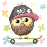 Owl with skateboard