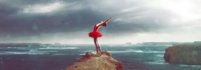 Ballet Dancer in front of a stormy sea landscape
