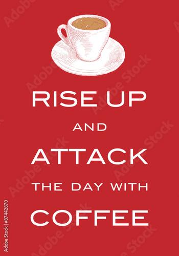 motto-karty-quot-podnies-sie-i-zaatakuj-dzien-kawa-quot-inspirujacy-slogan-z-nadrukiem-na-t-shirt-recznie-rysowane-filizanke-kawy-czerwone-tlo