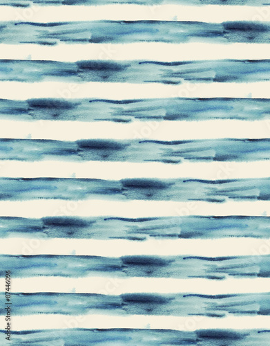 Cotton fabric Watercolor abstract blue seamless striped background