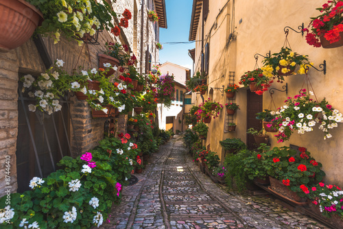 Floral street in central Italy, in the small Umbrian medieval town - 87446410