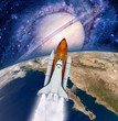 Space shuttle rocket power launch astronaut spaceship Earth planet. Elements of this image furnished by NASA.