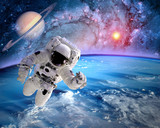 Astronaut spaceman outer space planet saturn earth sun universe. Elements of this image furnished by NASA. - 87449041