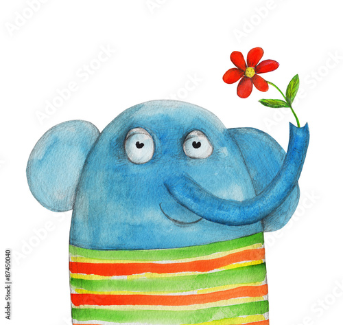 Zdjęcia Elephant with flower. Watercolor