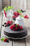 Fototapety Chocolate cake with berry and mint