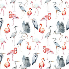 Flamngo and heron pattern