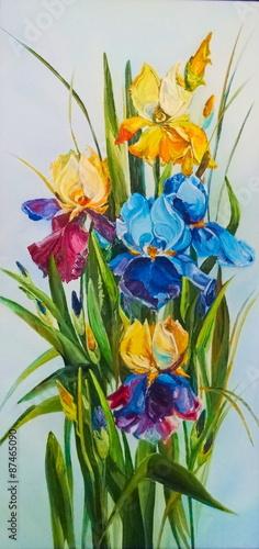 Obraz na Plexi Original oil painting Irises