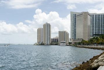 Miami, Florida, skyscrapers and Atlantic ocean