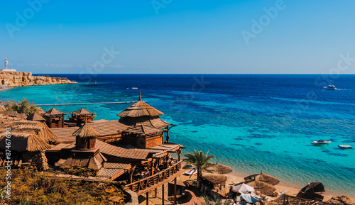 Poster Egypte Sharm El Sheikh beach, coral reef of Red sea, Egypt