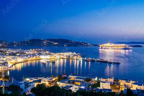 Mykonos town at night, view from above, Greece
