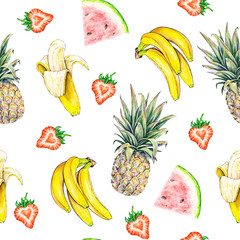 Fruit pattern. Seamless fruits texture of pineapple watermelon banana and strawberry on a white background. Watercolor illustration. Handwork