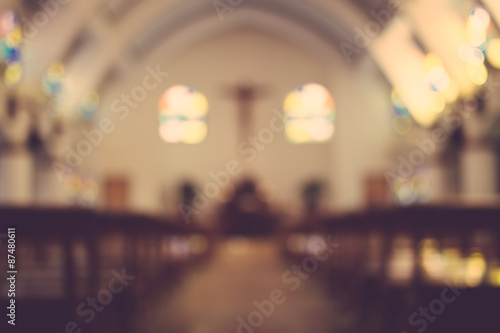 church interior blur abstract background - 87480611
