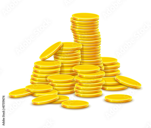 Gold coins cash money in rouleau. Eps10 vector illustration.