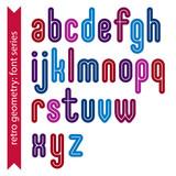 Multicolored binary striped distinct font, geometric bold bright poster