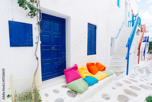 Pretty Mykonos white cycladic street, Greece