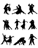 Fototapety Black silhouettes of tango players, vector