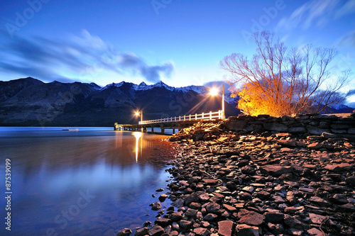 Twilight at Glenorchy jetty, Queenstown, New Zealand. Poster