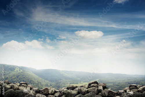 landscape of stones, forest and sky