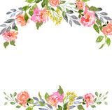 Fototapety Watercolor floral card template