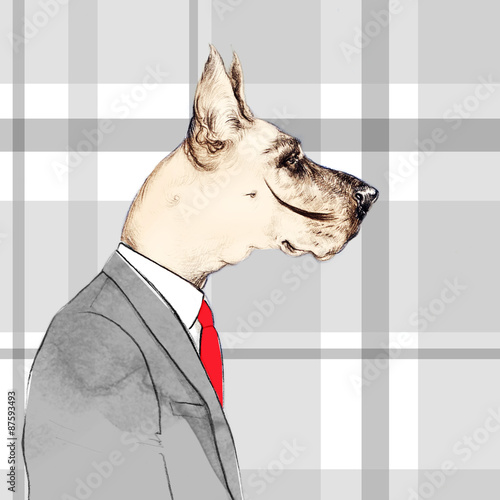 fashion animal .watercolor illustration.Business Dog  - 87593493