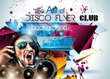 Fototapety Club Disco Flyer Set with DJs and Colorful backgrounds