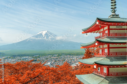 Fototapeta Mt. Fuji with fall colors in Japan.