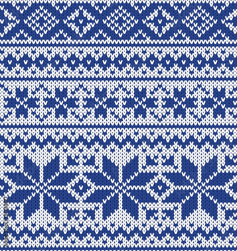 Cotton fabric vector knitting seamless background: christmas ornament