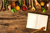 Blank cookbook and spices - 87648201