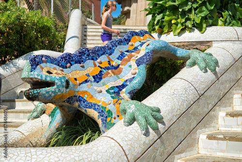 Papiers peints Barcelona Mosaic salamander at Parc Guell, Barcelona