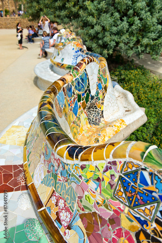 Main Terrace at Parc Guell in Barcelona, Spain Poster