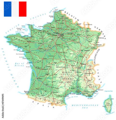 Plakát France - detailed topographic map - illustration