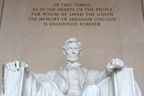 Statue of Abraham Lincoln, Lincoln Memorial, Washington DC Poster