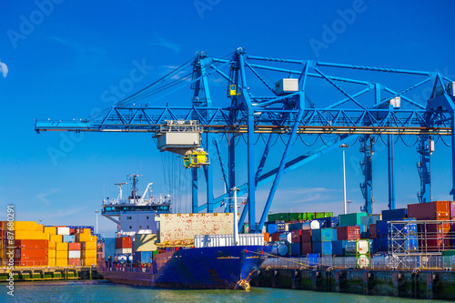 Deurstickers Rotterdam Large container vessel unloaded in Port of Rotterdam