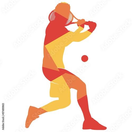 Fototapeta Geometry Orange Tennis Players